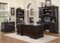 Scotland Executive Desk, Credenza & Hutch Dark Wood 3