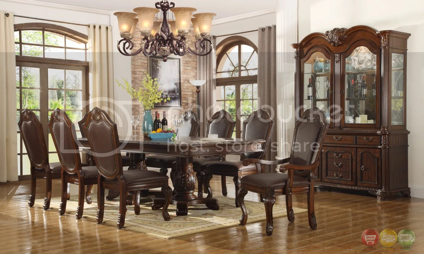 formal living room set black white and teal decor chateau traditional 9 piece dining table chairs