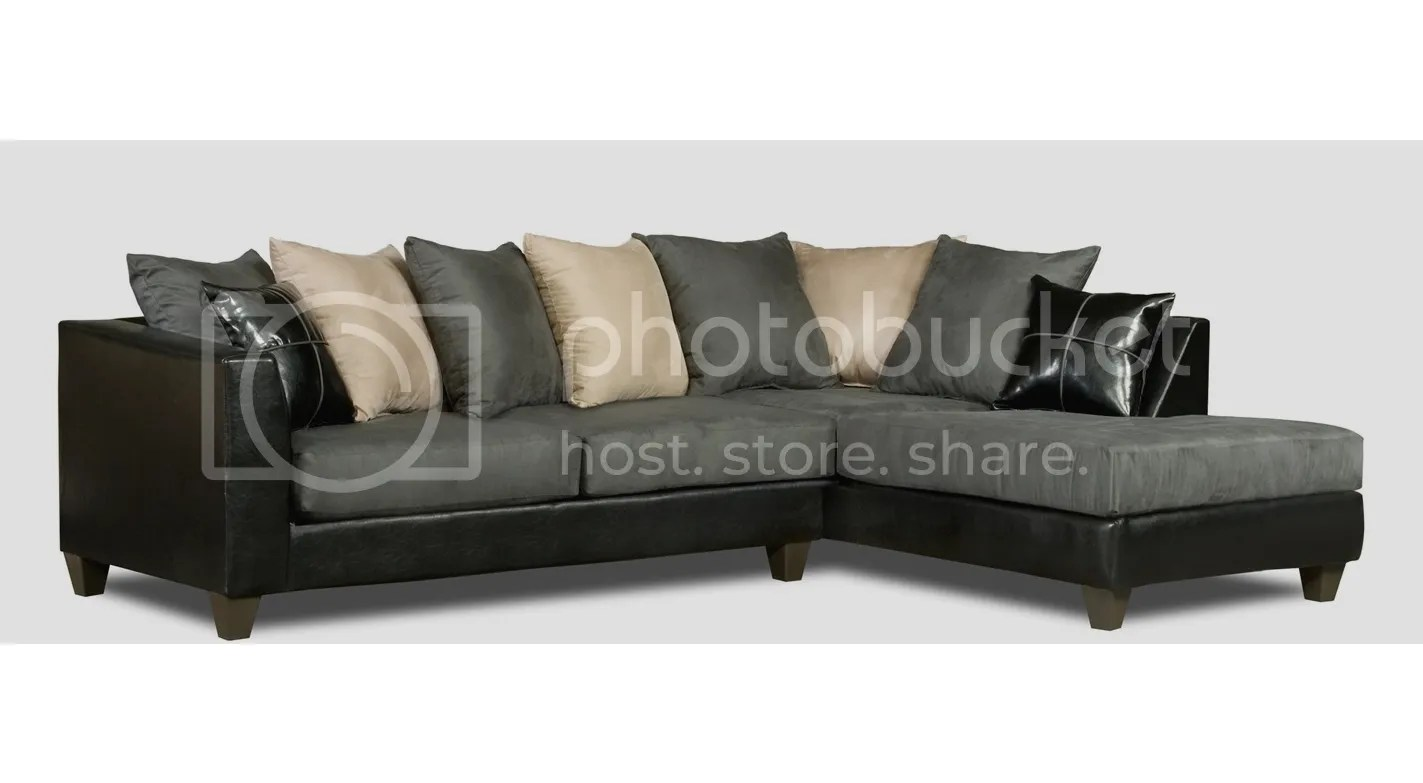 sofa w chaise best height for table lamp casual black gray microfiber sectional loose pillow rupard