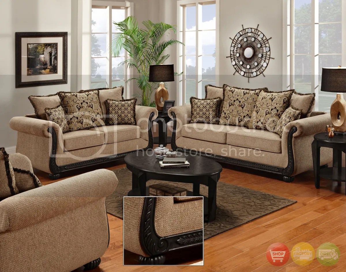 traditional sofa sets living room cheap sleepers loveseat delray chair 3pc furniture details about set chenille