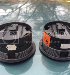 well here are the comparison pictures between my current e36 hk mid range speaker and the e46 sedan hk mid range speaker [ 1024 x 768 Pixel ]