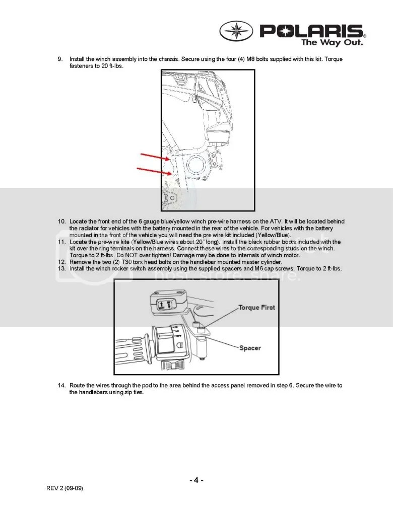 hight resolution of updated winch install instruction kit polaris atv forum winch wiring diagram polaris glacier