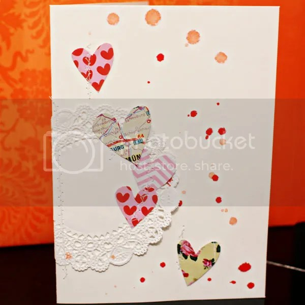 Doily Hearts card