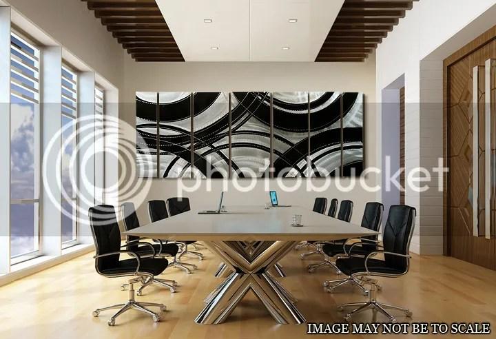 Silver/Black Modern Abstract Metal Wall Art Sculpture