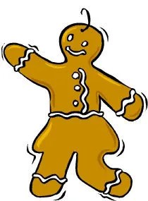 Gingerbread woman shimmying