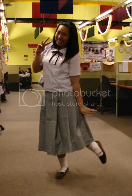 Me wearing a catholic school girl uniform ... not really the uniform I used back in the days but this was my vehicle to go back to the future