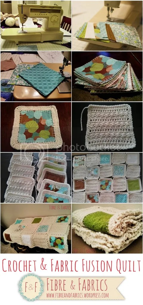 Check out this crochet & fabric fusion quilt @ Fibreandfabrics Crafts Blog ♥ @fibreandfabrics #crochet #quilt #sewing http://wp.me/p4kypa-3b