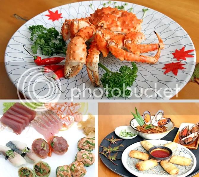 em sentido horário, king crab, harumaki e combinado