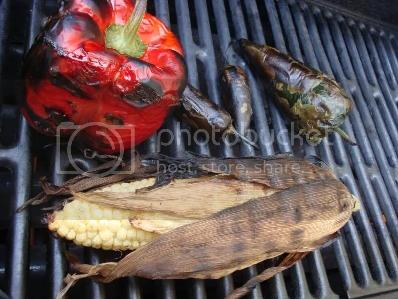 grilling peppers and corn
