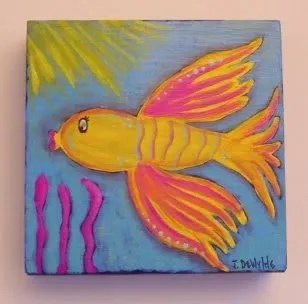 Funky Folk Art Beta Fish