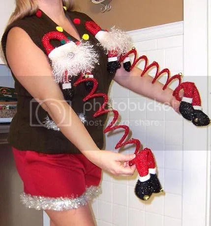Ugly Christmas Sweater Party Holiday *STRETCHY SANTA 's