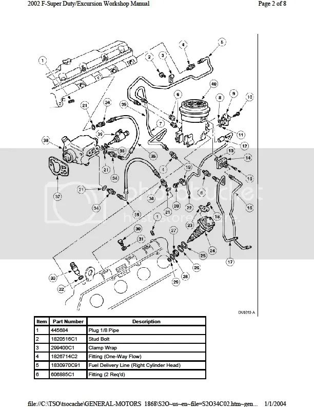 03 ford 7 3 fuel line diagram