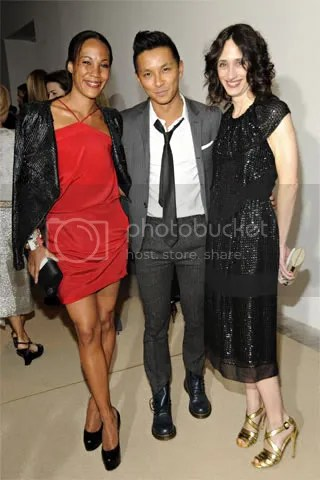 Maggie Betts and Nicole Phelps with Prabal Gurung in his designs.