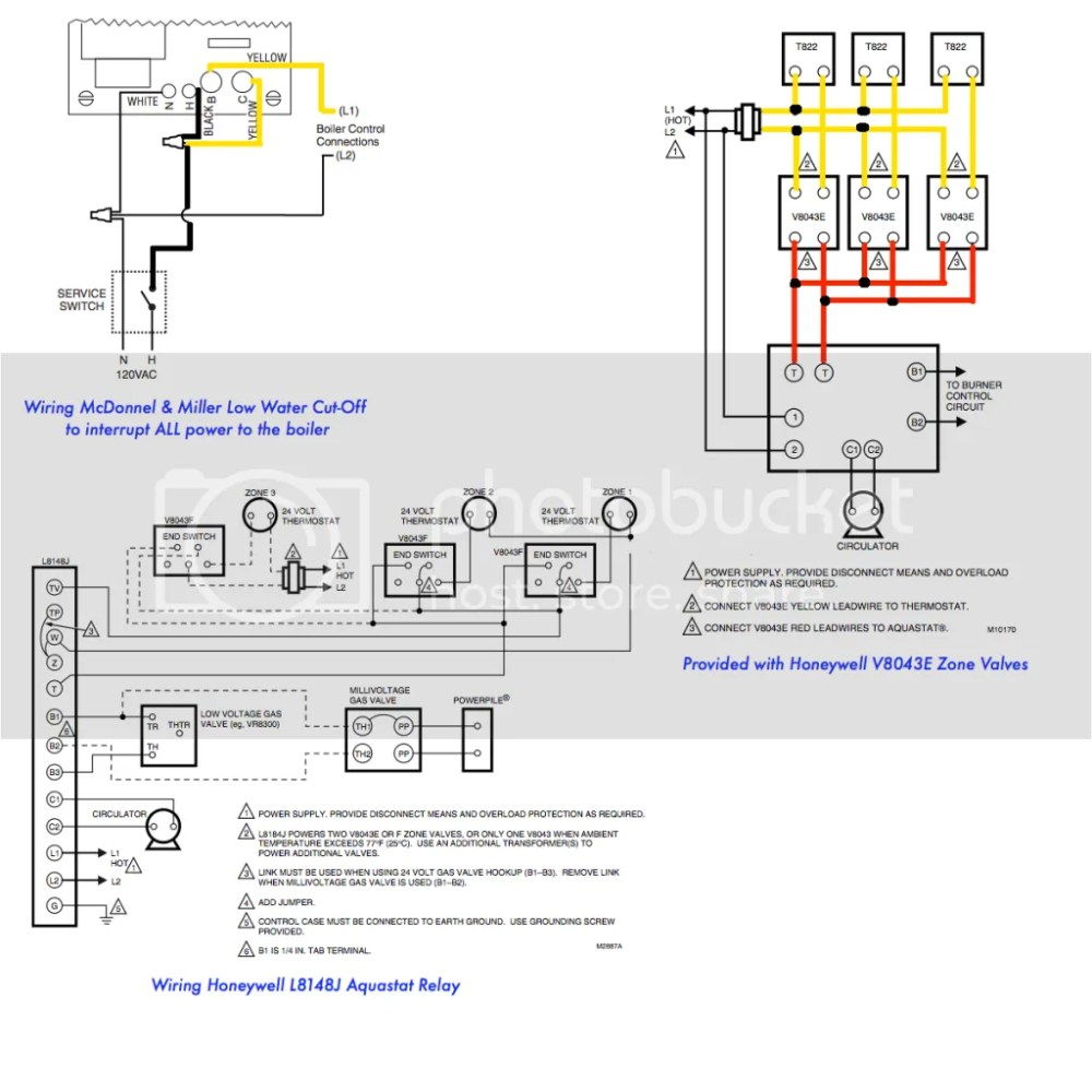 medium resolution of wiring 3 zone with honeywell l8148j honeywell v8043e and low water l8148j aquastat wiring diagram