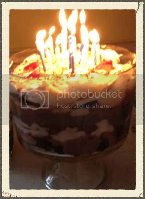 Burning bright candles on Bram's trifle layered by sister Talia (photo by Aunt Molly). Recipe tweaked with homemade whipped cream, chocolate mocha pudding.