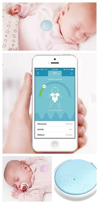 MonBaby wearable breathing monitor clips to clothes and sends data to your smartphone