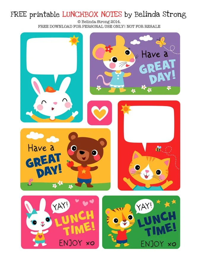 Free printable preschool lunchbox notes by Belinda Strong