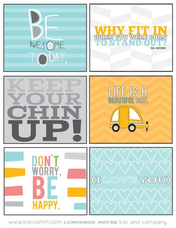 Free printable lunch box notes at Whipperberry