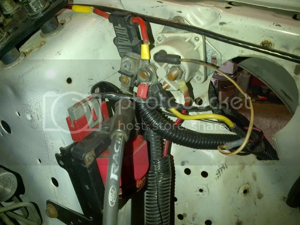 hight resolution of here s a picture below of how the starter solenoid looks in the car right now that yellow wire you see there is not the same wire