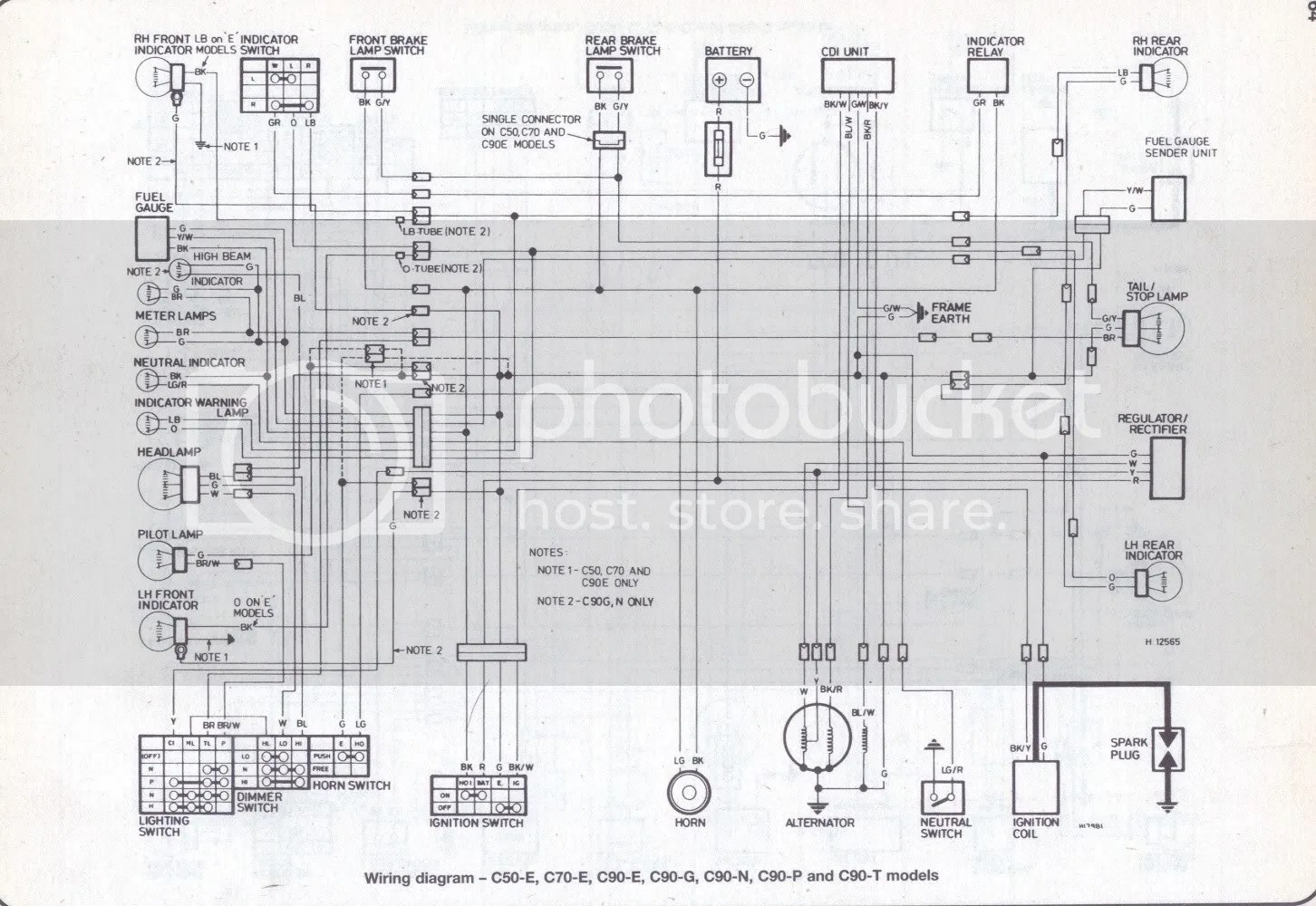 Honda C70 Passport Motorcycle Wiring Harness Diagram