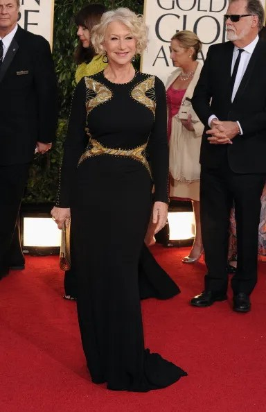 Helen Mirren Golden Globes red carpet