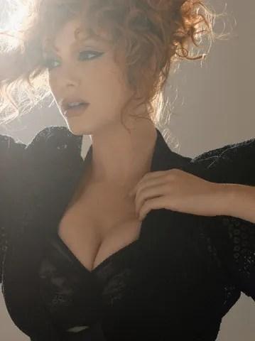 Christina Hendricks black bra