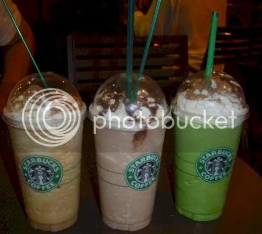 Mocha, Chocolate, Green Tea.