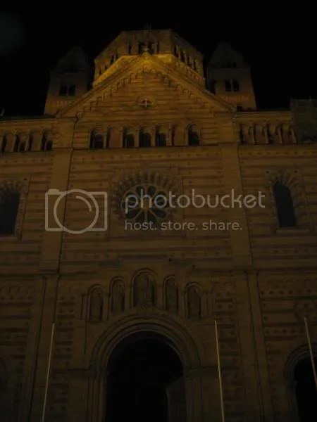 The Speyer Cathedral facade at night
