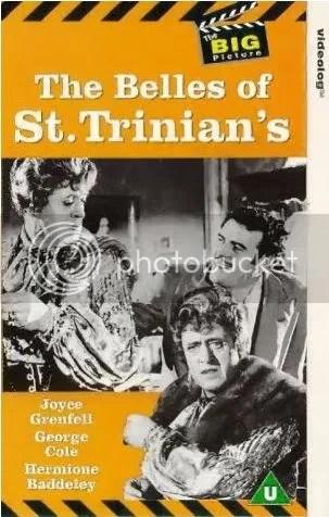À gauche et en bas de la jaquette, Alastair Sim en Miss Fritton; à droite, George Cole (Flash Harry)