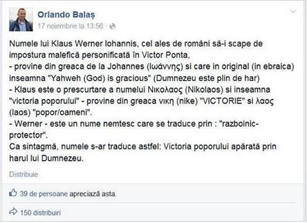 profesorul Orlando Balas in delir limbistic la adresa lui Klaus Iohannis