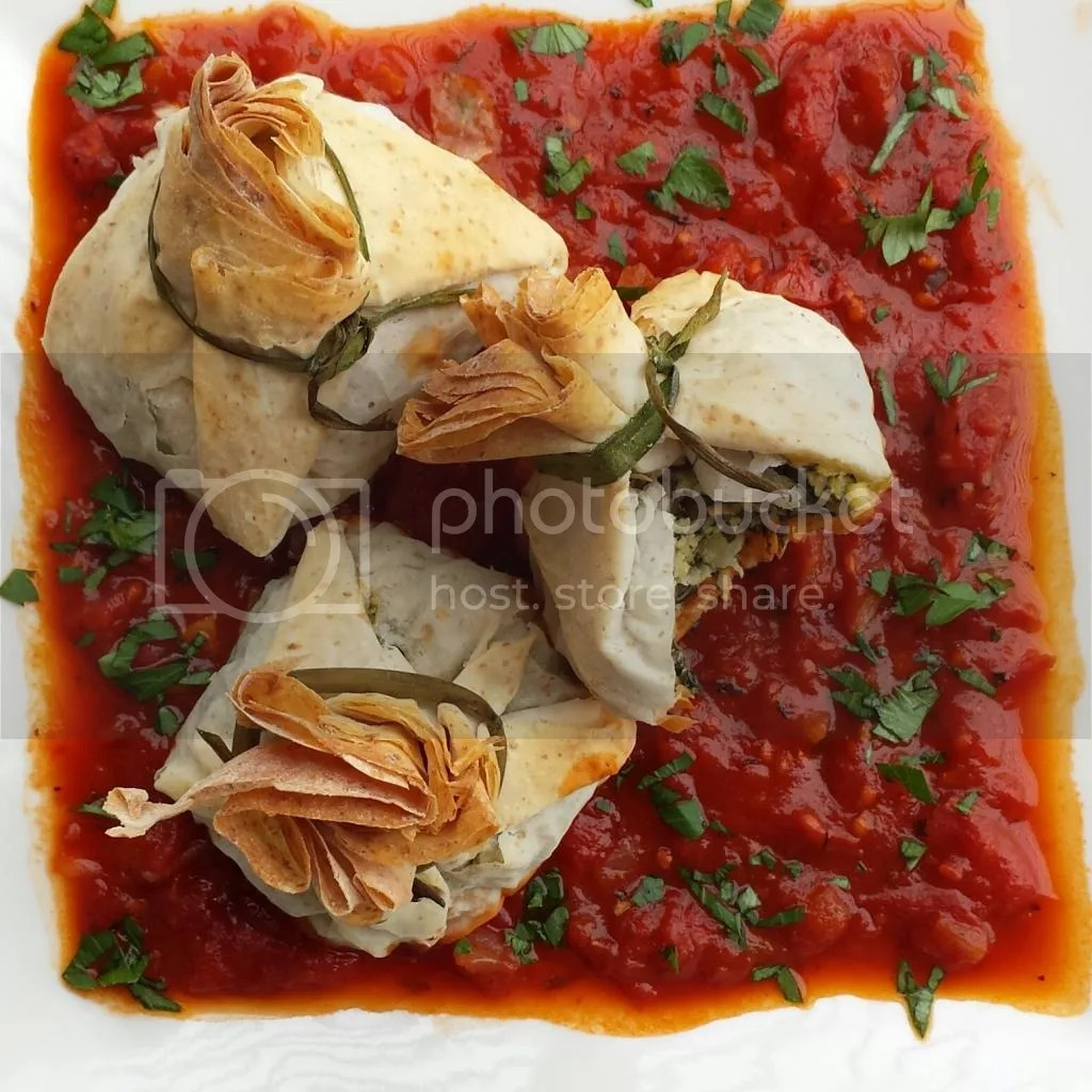Spanakopita Money Bags with Tomato Balsamic Sauce
