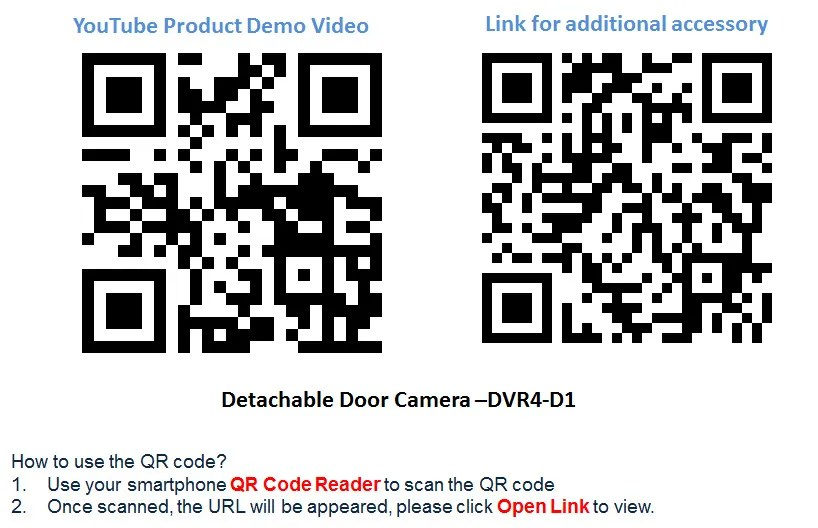 190° Brass Peephole Door Camera & 4 CH Motion-Detect DVR