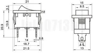 5x Black Mini Rocker Switch On/Off 6A 250VAC + WATERPROOF