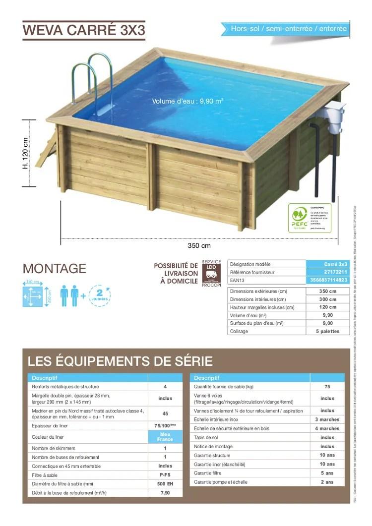 Maison Jardin Plein Air Weva Piscine Bois Carree X M Hauteur M F L