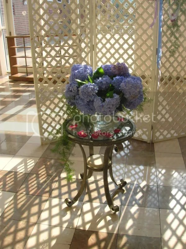 Arrangement using the couples own Hydrangeas