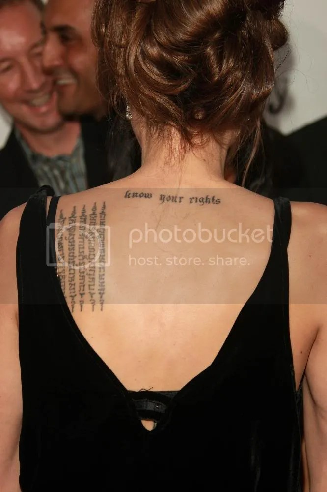 Photo: Angelina Jolie's Shoulder Tattoo - Know Your Rights