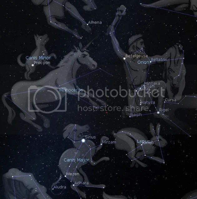 Orion and some of the nearby constellations.  Image taken from Stellarium (a free virtual planetarium for your PC)