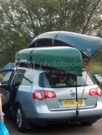 carrying canoe on its side on the roof rack