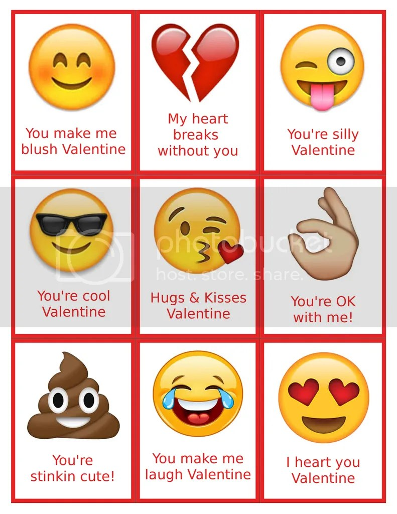 graphic about Free Printable Emojis named Free of charge Printable Emoji Valentines - Toys Within The Dryer