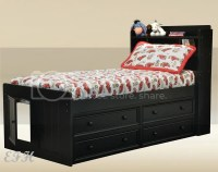 NEW GOSLIN WHITE OR BLACK BOOK CASE WOOD TWIN CAPTAIN BED ...