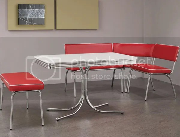 New Retro 5pc Chrome Metal Corner Nook 1950s Dining Table