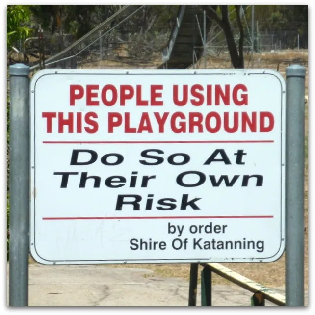 Safety sign at Katanning All Ages Playground