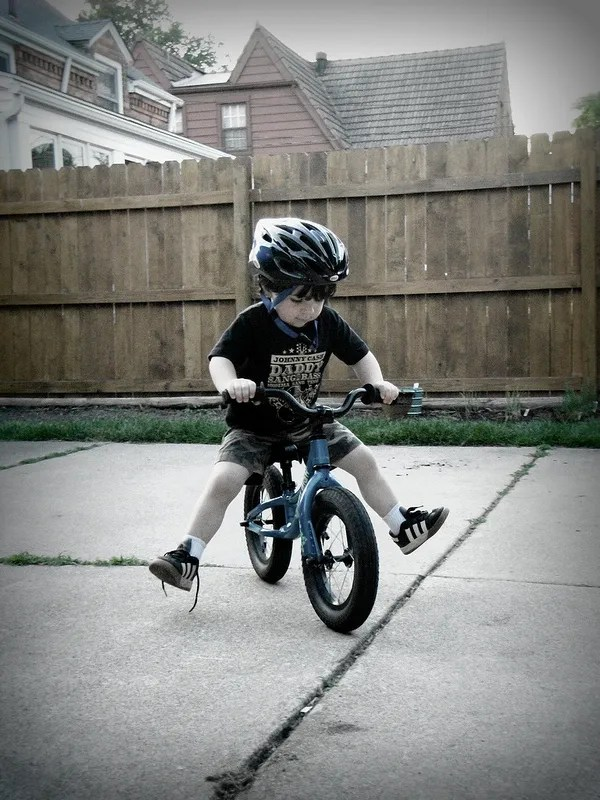 toddler on BMX bike - no training wheels
