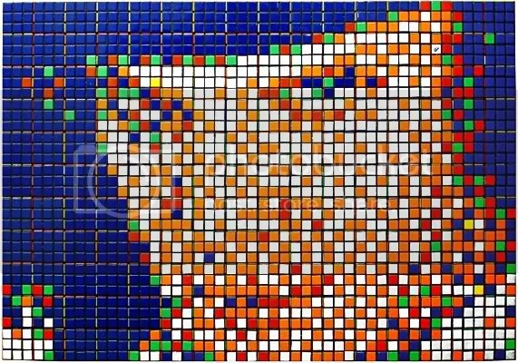 Rubik Kubrick (Clockwork orange), by Invader