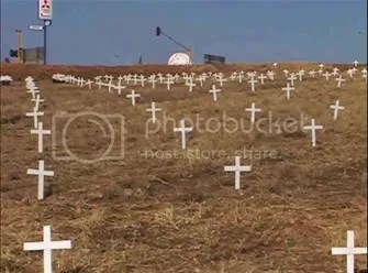 Crosses for the dead in South Africa