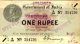 The earliest one rupee note