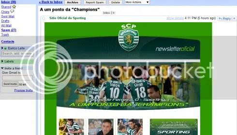 Newsletter do Sporting
