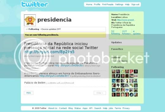 Cavaco Silva no Twitter