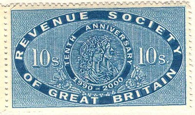 Gerald Kings Revenue Society of Great Britain stamp - Single stamp with the value 10s - The year 2000 was the 10th anniversary of the Revenue Society and the stamps were produced for the occasion, based upon the Tudor and then Victorian revenue stamps.