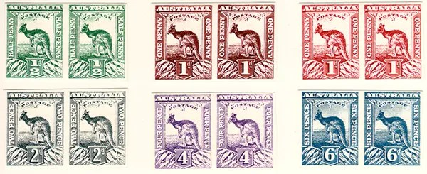 Gerald King - Alternative Australia - 1913. Baldy Essays (Low values stamps in pairs) - Imperforated